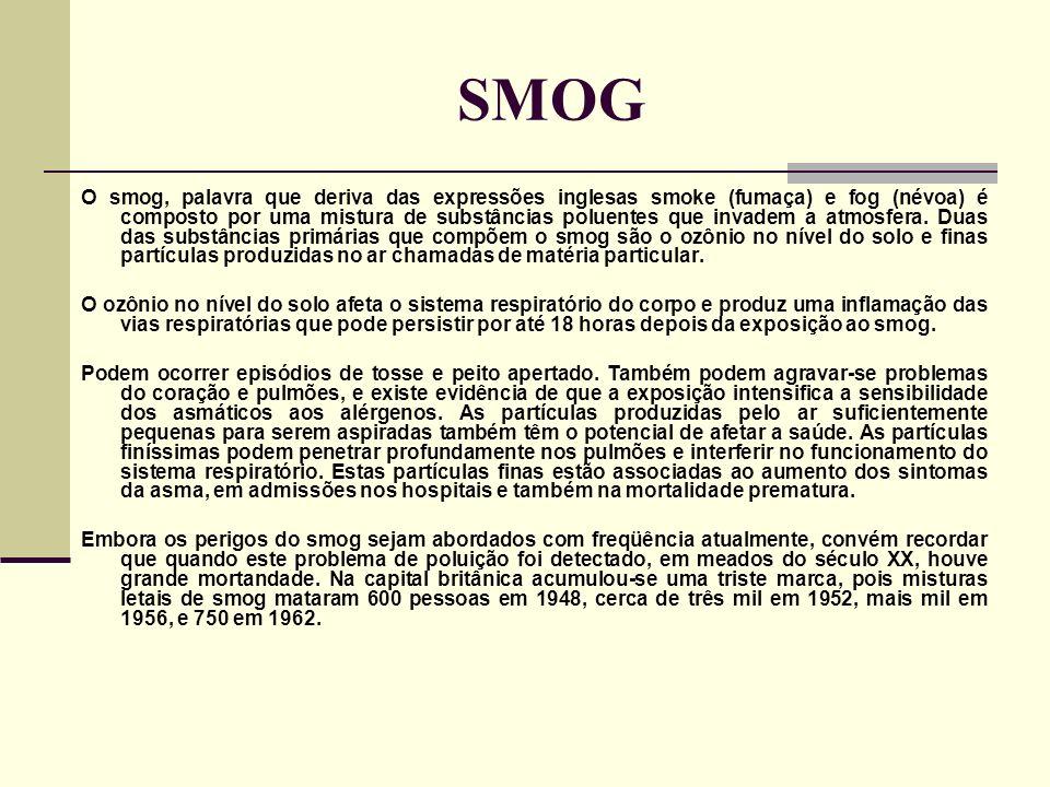 SMOG O smog, palavra que deriva das expressões inglesas smoke (fumaça) e fog (névoa) é composto por uma mistura de substâncias poluentes que invadem a