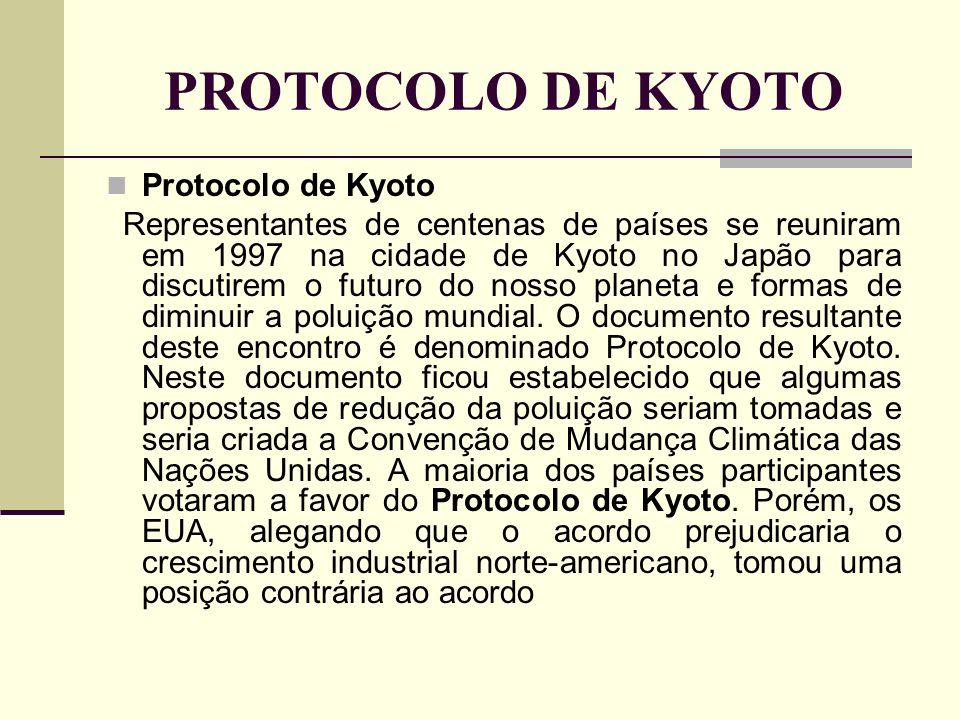PROTOCOLO DE KYOTO Protocolo de Kyoto Representantes de centenas de países se reuniram em 1997 na cidade de Kyoto no Japão para discutirem o futuro do