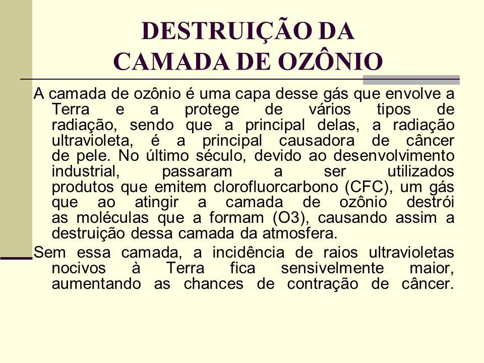 DESTRUIÇÃO DA CAMADA DE OZÔNIO A camada de ozônio é uma capa desse gás que envolve a Terra e a protege de vários tipos de radiação, sendo que a princi
