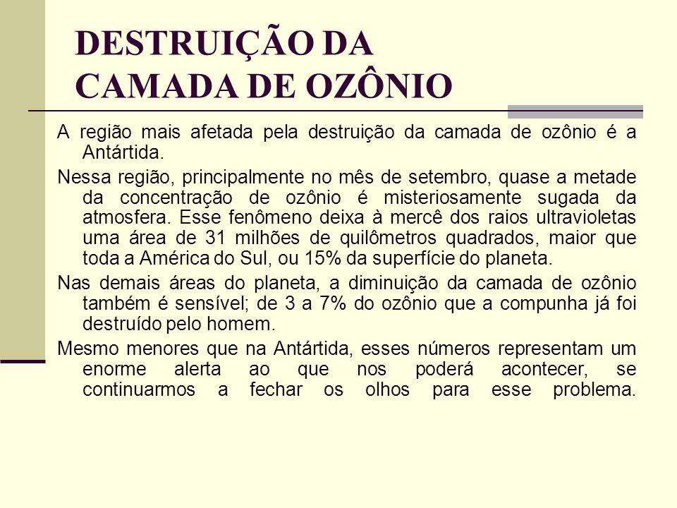 DESTRUIÇÃO DA CAMADA DE OZÔNIO A região mais afetada pela destruição da camada de ozônio é a Antártida. Nessa região, principalmente no mês de setembr