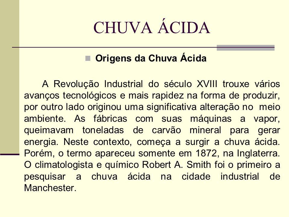 CHUVA ÁCIDA Origens da Chuva Ácida A Revolução Industrial do século XVIII trouxe vários avanços tecnológicos e mais rapidez na forma de produzir, por