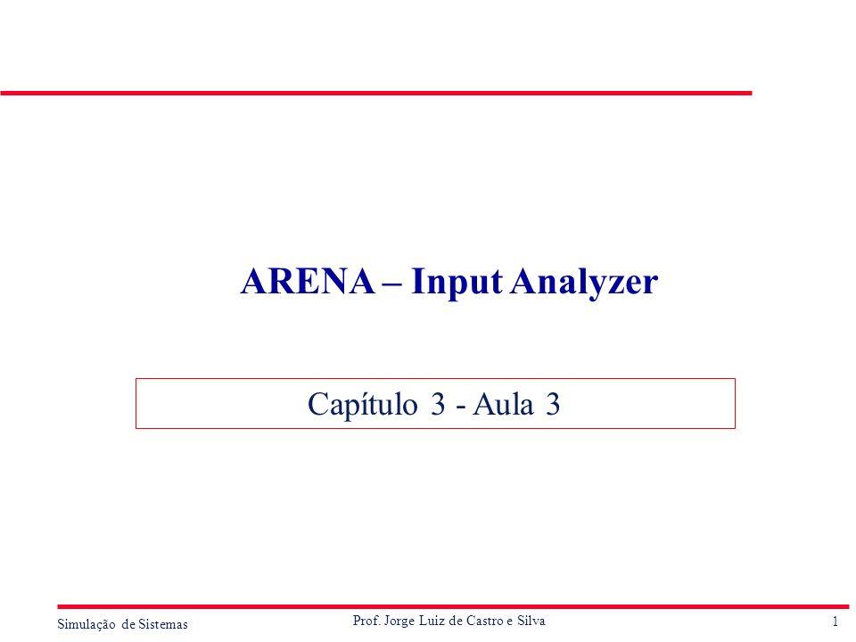 1 Simulação de Sistemas Prof. Jorge Luiz de Castro e Silva ARENA – Input Analyzer Capítulo 3 - Aula 3