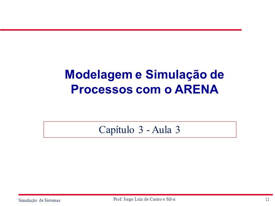 11 Simulação de Sistemas Prof. Jorge Luiz de Castro e Silva Modelagem e Simulação de Processos com o ARENA Capítulo 3 - Aula 3