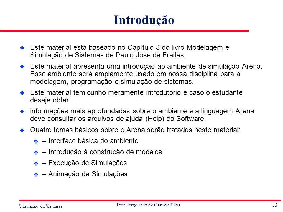 13 Simulação de Sistemas Prof. Jorge Luiz de Castro e Silva Introdução u Este material está baseado no Capítulo 3 do livro Modelagem e Simulação de Si