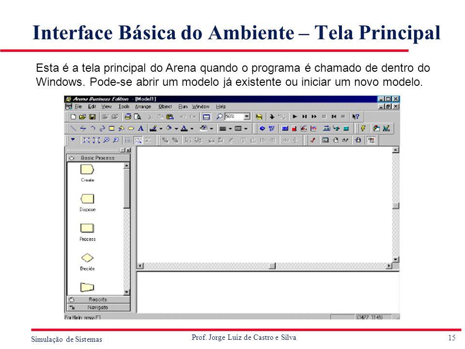 15 Simulação de Sistemas Prof. Jorge Luiz de Castro e Silva Interface Básica do Ambiente – Tela Principal Esta é a tela principal do Arena quando o pr