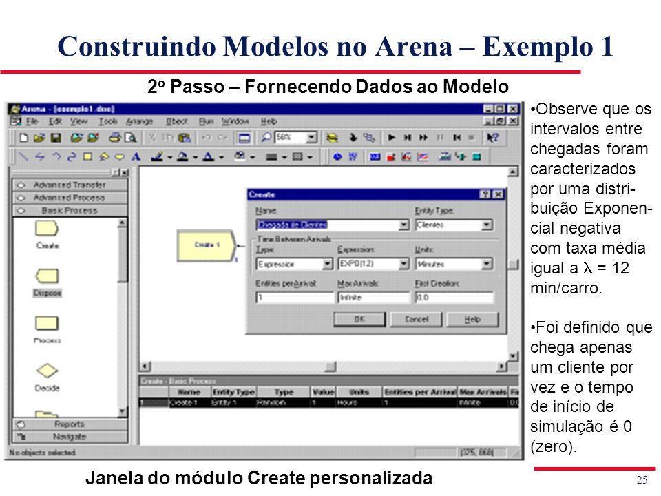 25 Simulação de Sistemas Prof. Jorge Luiz de Castro e Silva Construindo Modelos no Arena – Exemplo 1 2 o Passo – Fornecendo Dados ao Modelo Observe qu