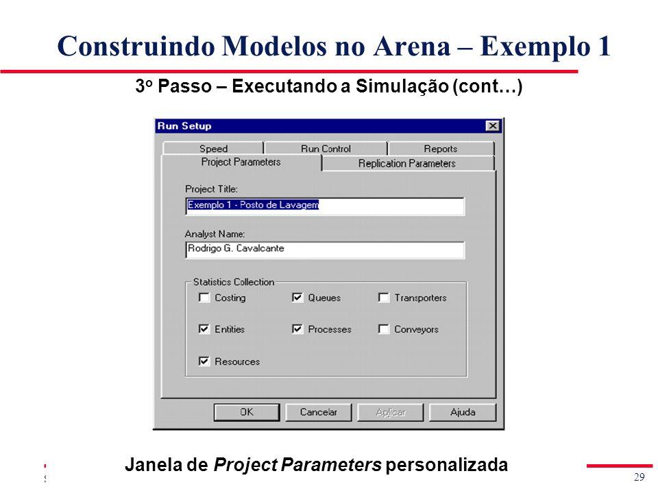 29 Simulação de Sistemas Prof. Jorge Luiz de Castro e Silva Construindo Modelos no Arena – Exemplo 1 3 o Passo – Executando a Simulação (cont…) Janela