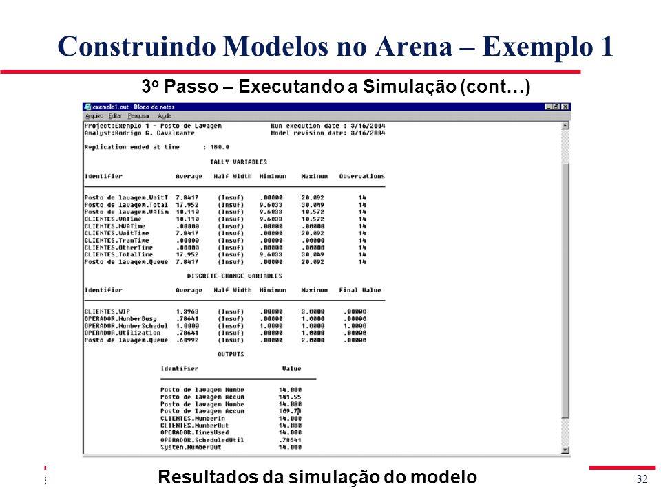 32 Simulação de Sistemas Prof. Jorge Luiz de Castro e Silva Construindo Modelos no Arena – Exemplo 1 3 o Passo – Executando a Simulação (cont…) Result