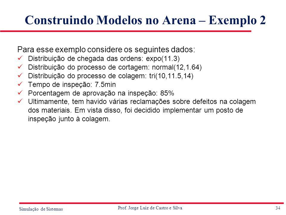 34 Simulação de Sistemas Prof. Jorge Luiz de Castro e Silva Construindo Modelos no Arena – Exemplo 2 Para esse exemplo considere os seguintes dados: D