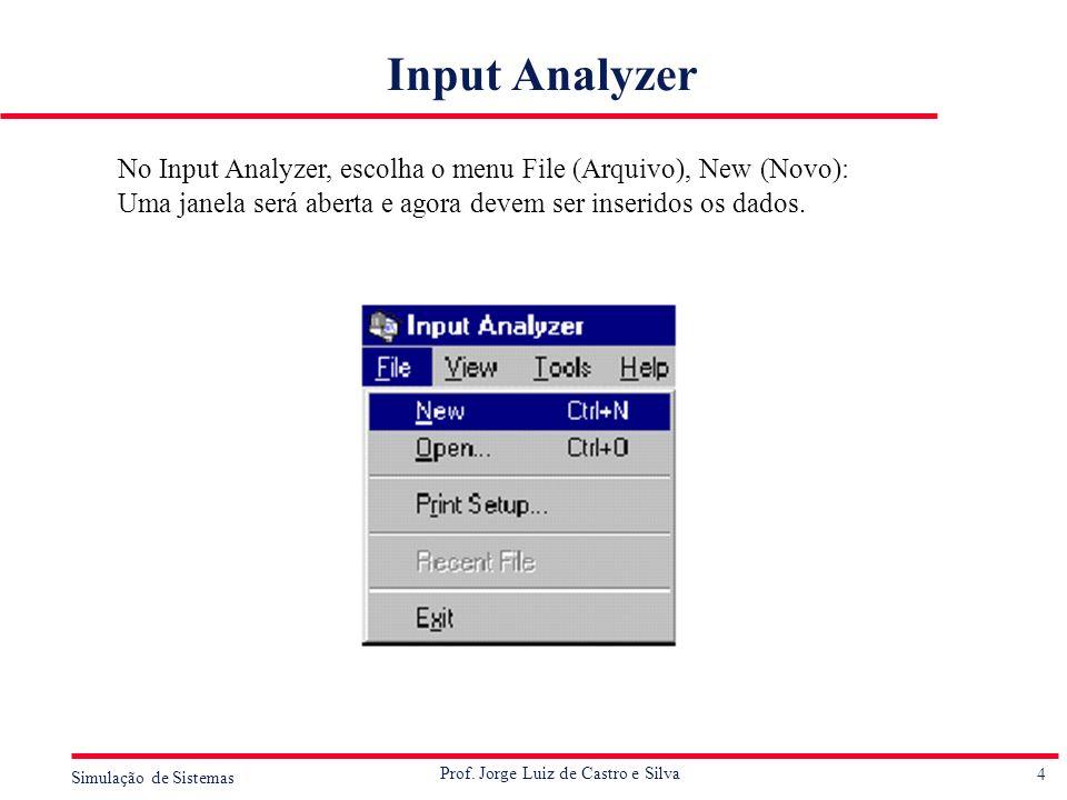 4 Simulação de Sistemas Prof. Jorge Luiz de Castro e Silva Input Analyzer No Input Analyzer, escolha o menu File (Arquivo), New (Novo): Uma janela ser