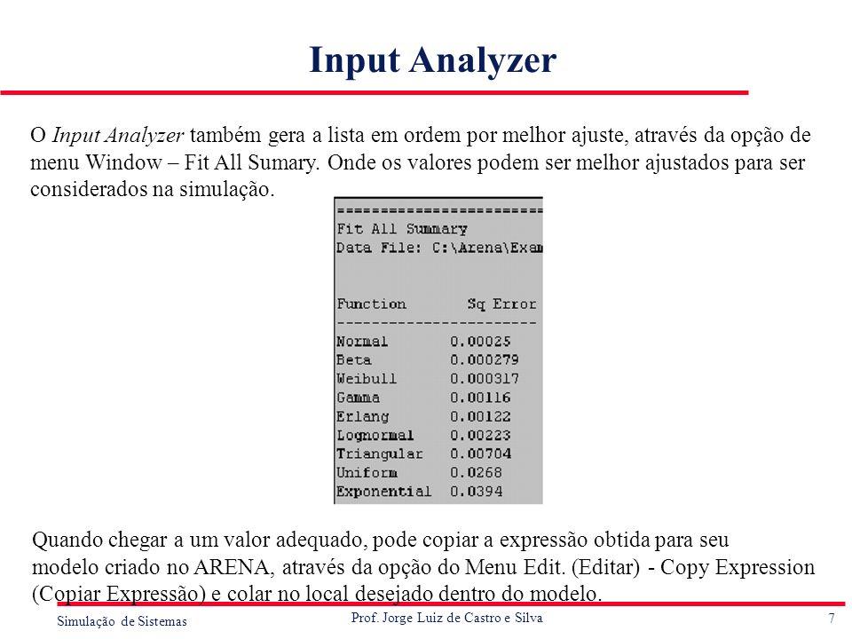 7 Simulação de Sistemas Prof. Jorge Luiz de Castro e Silva Input Analyzer O Input Analyzer também gera a lista em ordem por melhor ajuste, através da