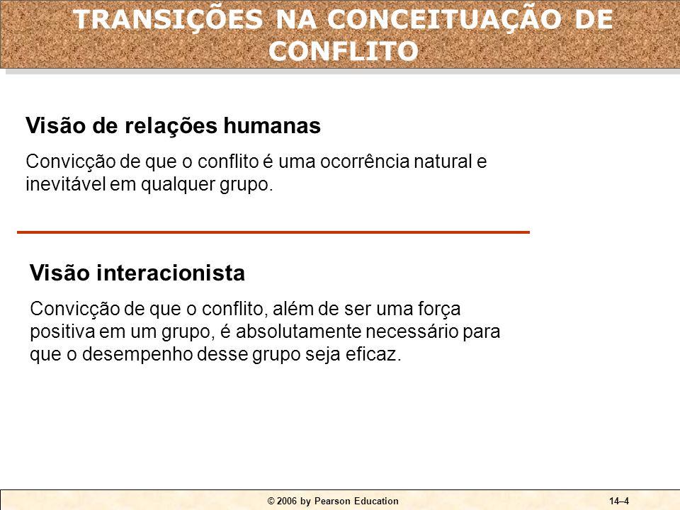 © 2006 by Pearson Education14–4 Visão de relações humanas Convicção de que o conflito é uma ocorrência natural e inevitável em qualquer grupo.