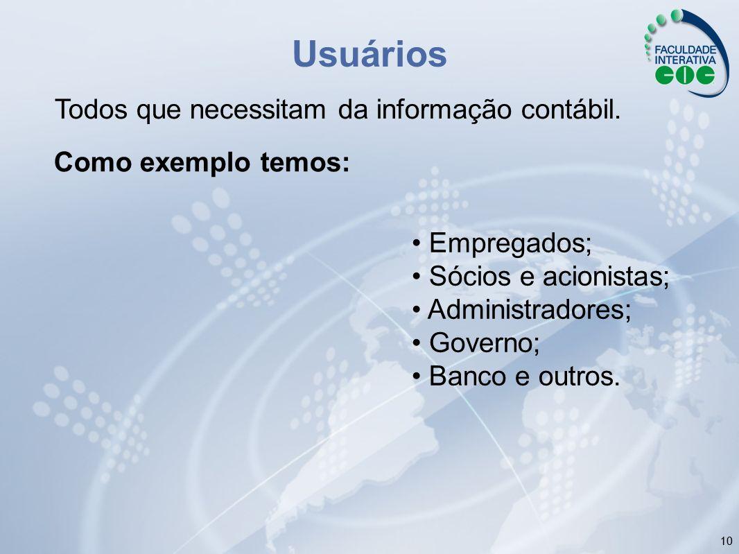 10 Usuários Todos que necessitam da informação contábil. Empregados; Sócios e acionistas; Administradores; Governo; Banco e outros. Como exemplo temos
