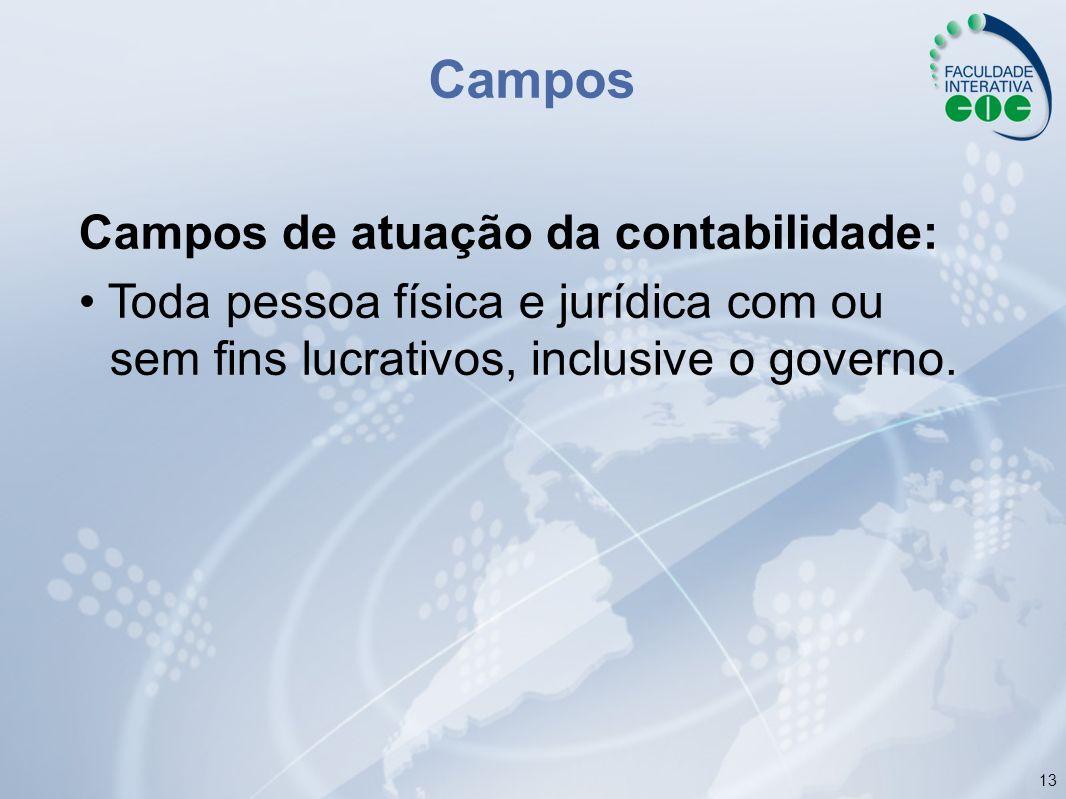 13 Campos Campos de atuação da contabilidade: Toda pessoa física e jurídica com ou sem fins lucrativos, inclusive o governo.