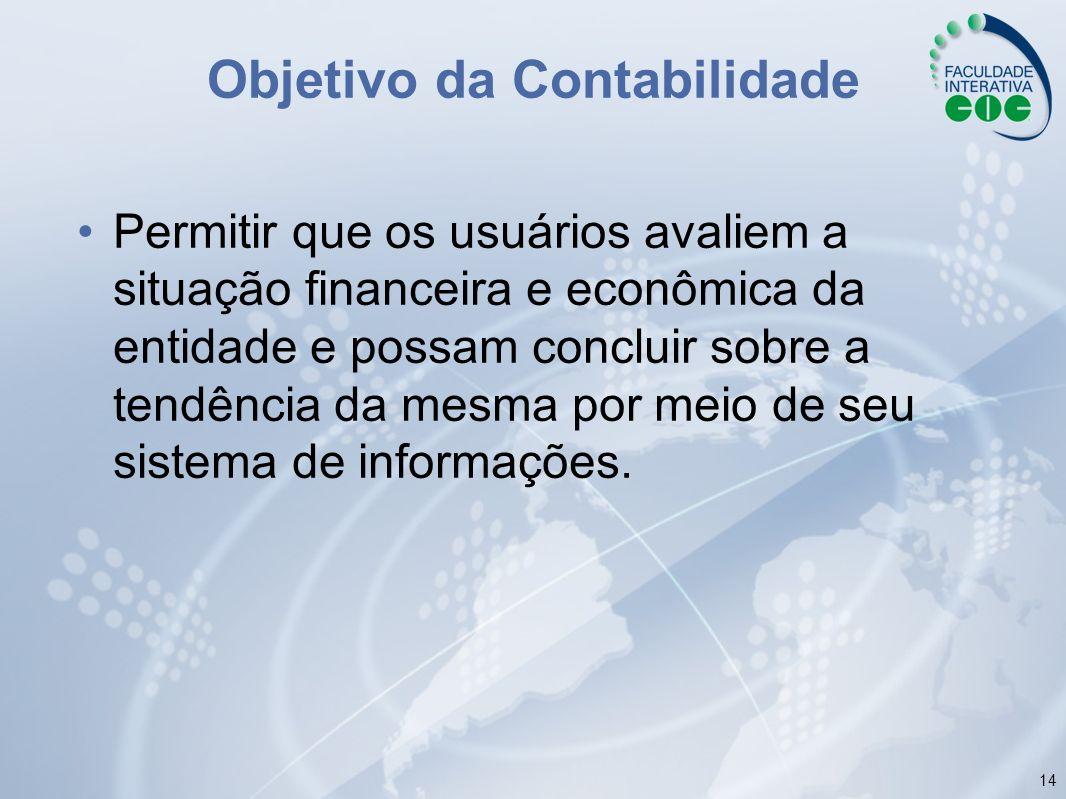 14 Objetivo da Contabilidade Permitir que os usuários avaliem a situação financeira e econômica da entidade e possam concluir sobre a tendência da mes