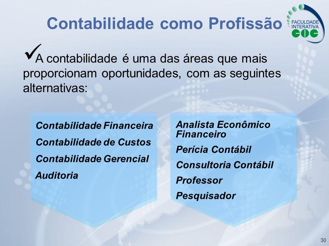 30 Contabilidade como Profissão Contabilidade Financeira Contabilidade de Custos Contabilidade Gerencial Auditoria Analista Econômico Financeiro Períc