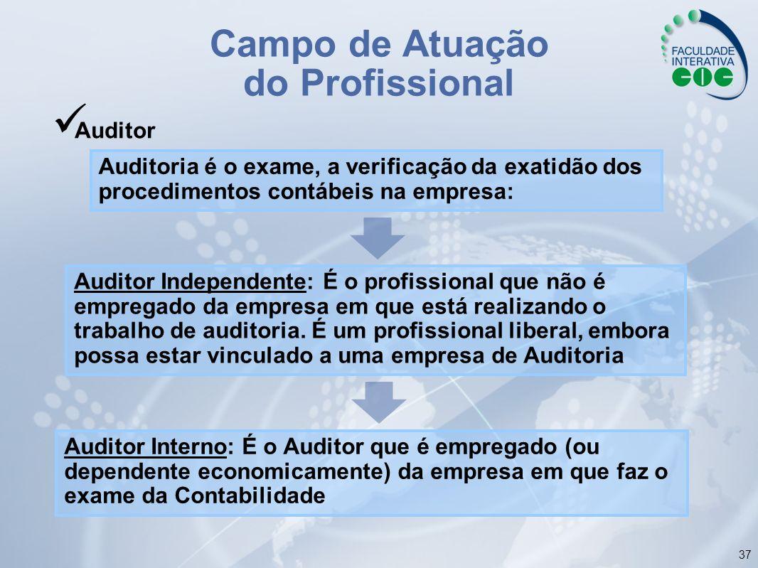 37 Campo de Atuação do Profissional Auditor Auditoria é o exame, a verificação da exatidão dos procedimentos contábeis na empresa: Auditor Independent