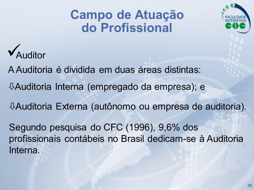 38 Auditor A Auditoria é dividida em duas áreas distintas: Segundo pesquisa do CFC (1996), 9,6% dos profissionais contábeis no Brasil dedicam-se à Aud