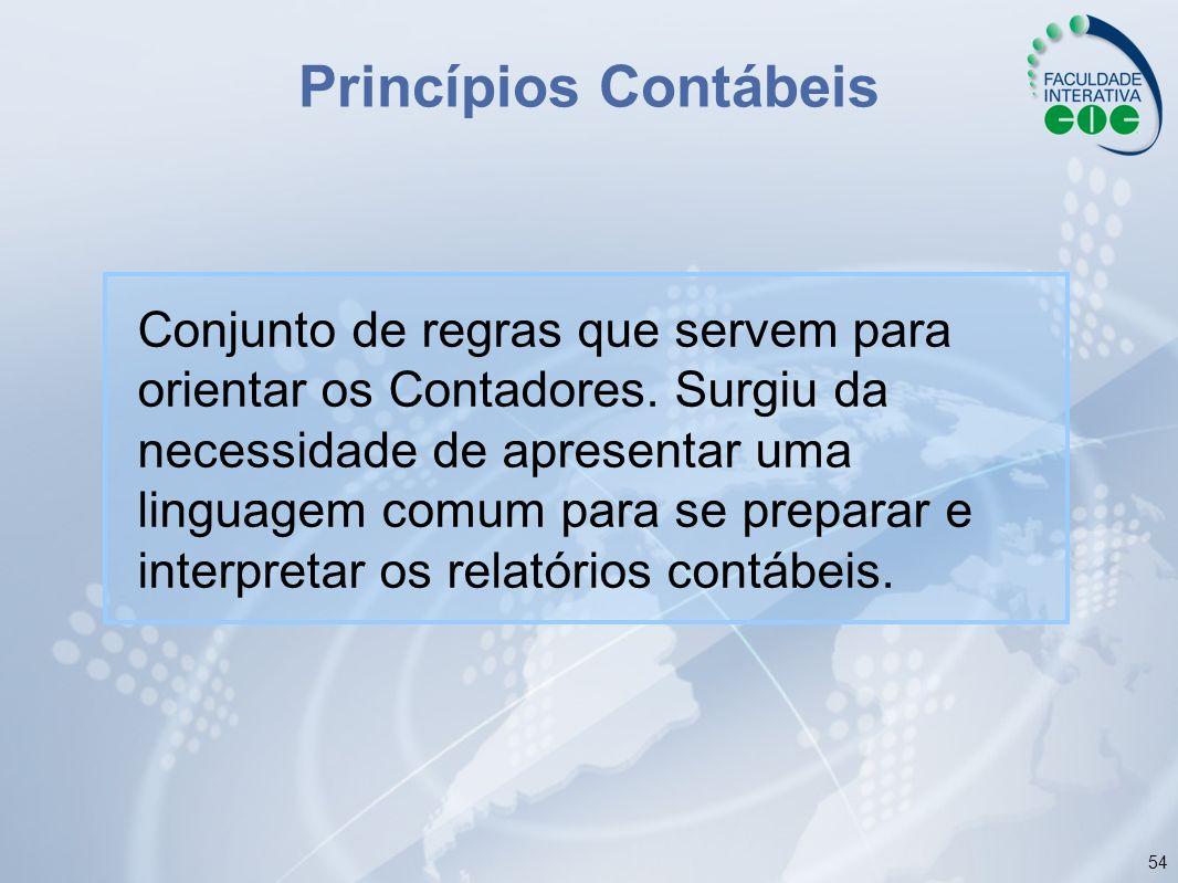 54 Princípios Contábeis Conjunto de regras que servem para orientar os Contadores. Surgiu da necessidade de apresentar uma linguagem comum para se pre