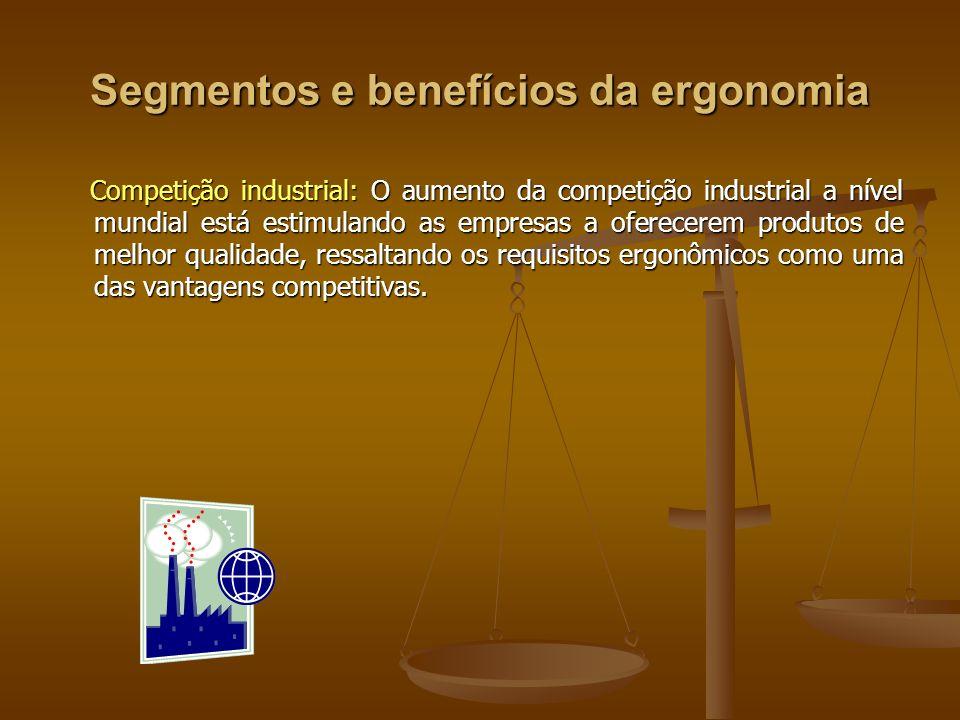 Segmentos e benefícios da ergonomia Competição industrial: O aumento da competição industrial a nível mundial está estimulando as empresas a oferecere