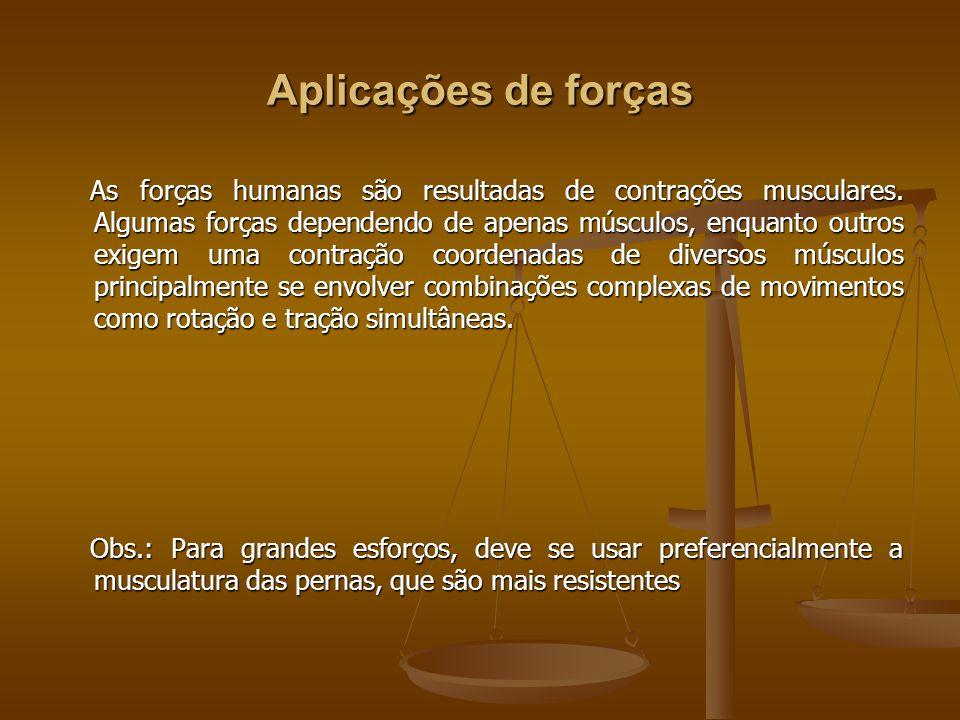 Aplicações de forças As forças humanas são resultadas de contrações musculares. Algumas forças dependendo de apenas músculos, enquanto outros exigem u