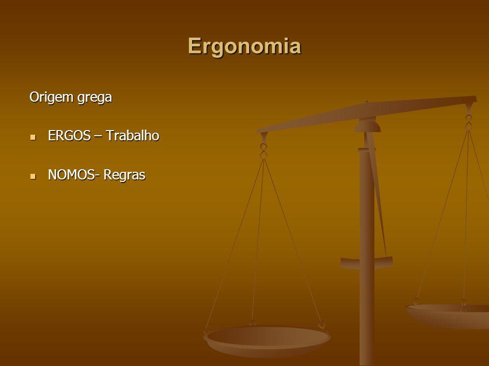 Ergonomia Origem grega ERGOS – Trabalho ERGOS – Trabalho NOMOS- Regras NOMOS- Regras