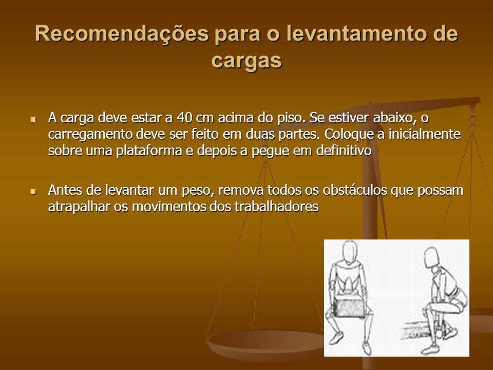 Recomendações para o levantamento de cargas A carga deve estar a 40 cm acima do piso. Se estiver abaixo, o carregamento deve ser feito em duas partes.