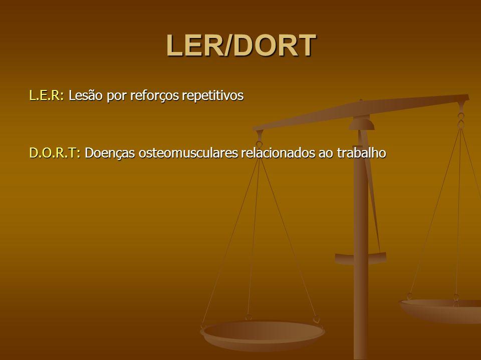 LER/DORT L.E.R: Lesão por reforços repetitivos D.O.R.T: Doenças osteomusculares relacionados ao trabalho