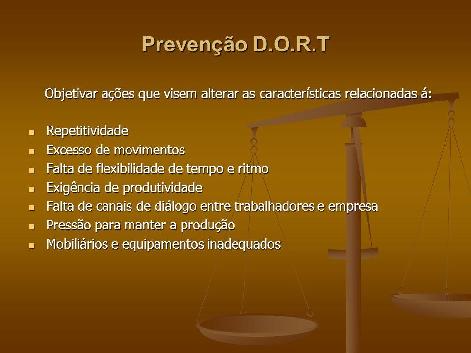 Prevenção D.O.R.T Objetivar ações que visem alterar as características relacionadas á: Objetivar ações que visem alterar as características relacionad