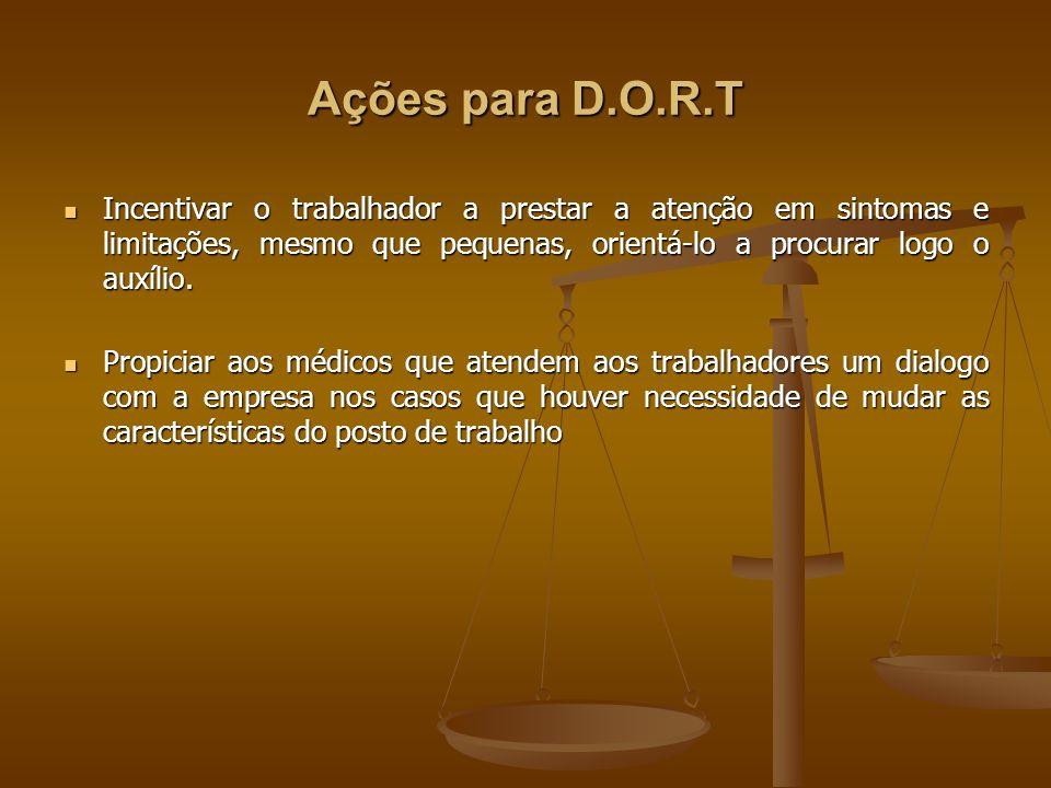 Ações para D.O.R.T Incentivar o trabalhador a prestar a atenção em sintomas e limitações, mesmo que pequenas, orientá-lo a procurar logo o auxílio. In