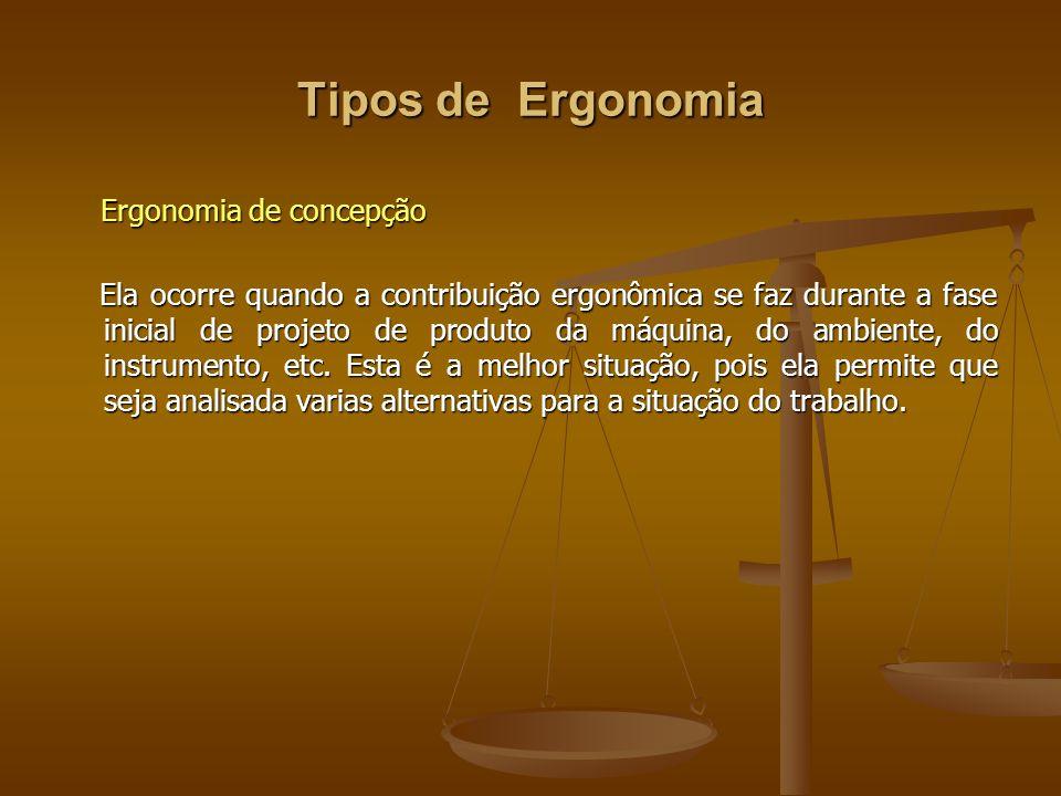 Tipos de Ergonomia Ergonomia de concepção Ergonomia de concepção Ela ocorre quando a contribuição ergonômica se faz durante a fase inicial de projeto