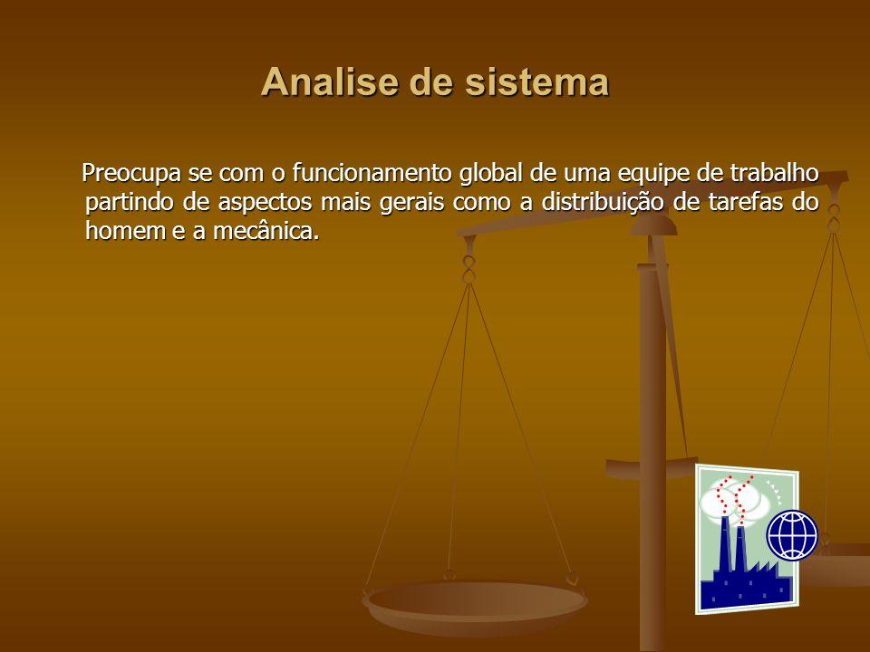 Analise de sistema Preocupa se com o funcionamento global de uma equipe de trabalho partindo de aspectos mais gerais como a distribuição de tarefas do