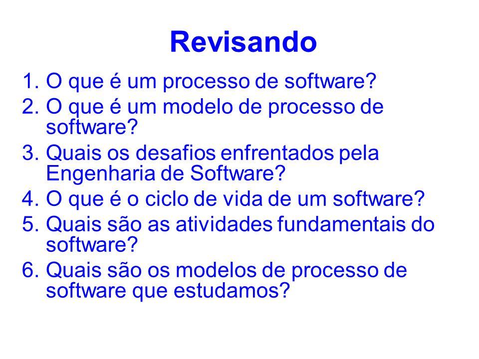 Revisando 1.O que é um processo de software? 2.O que é um modelo de processo de software? 3.Quais os desafios enfrentados pela Engenharia de Software?
