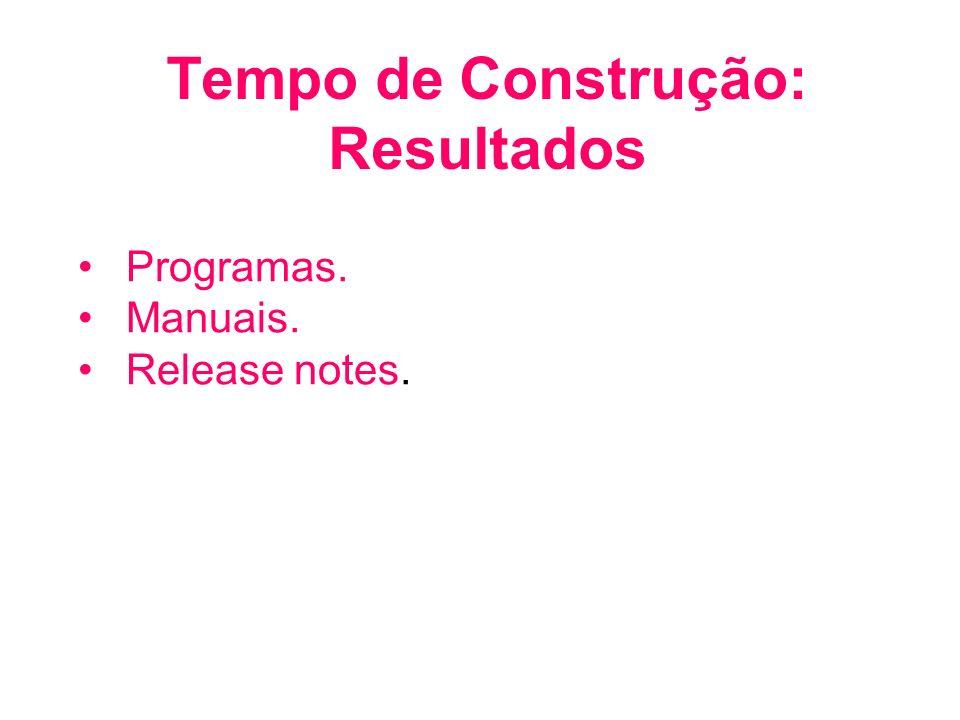 Tempo de Construção: Resultados Programas. Manuais. Release notes.