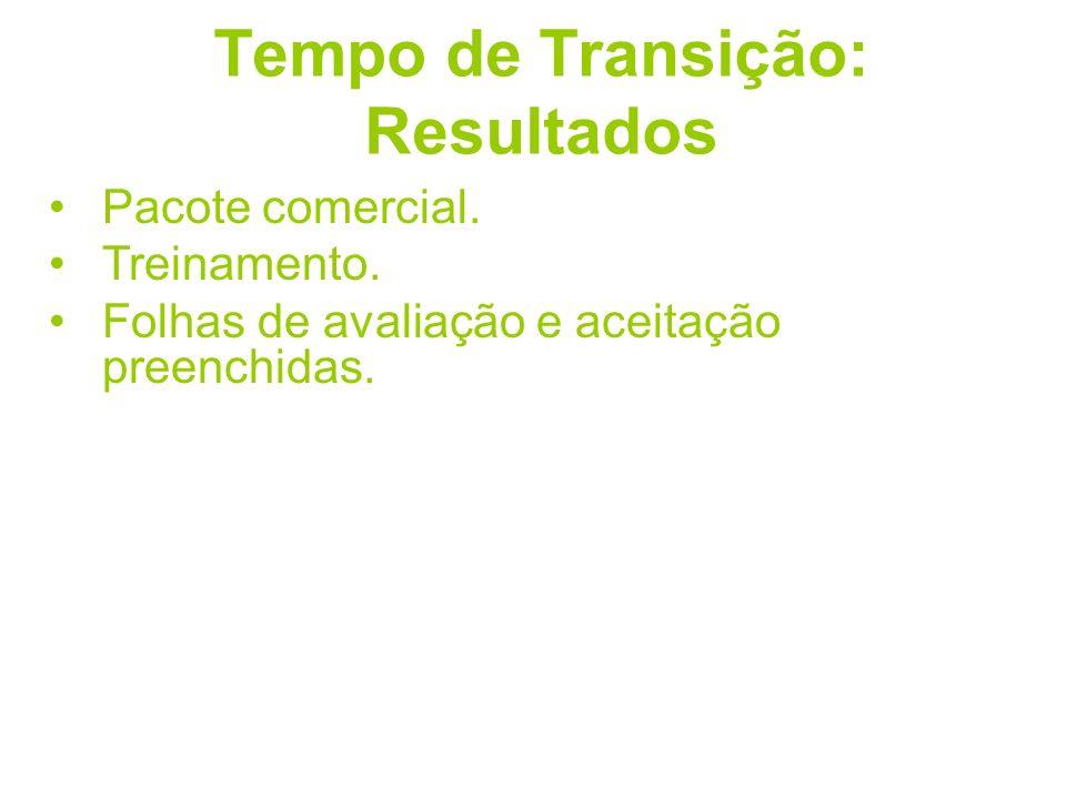 Tempo de Transição: Resultados Pacote comercial. Treinamento. Folhas de avaliação e aceitação preenchidas.