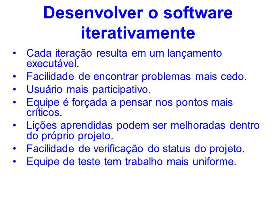 Desenvolver o software iterativamente Cada iteração resulta em um lançamento executável. Facilidade de encontrar problemas mais cedo. Usuário mais par