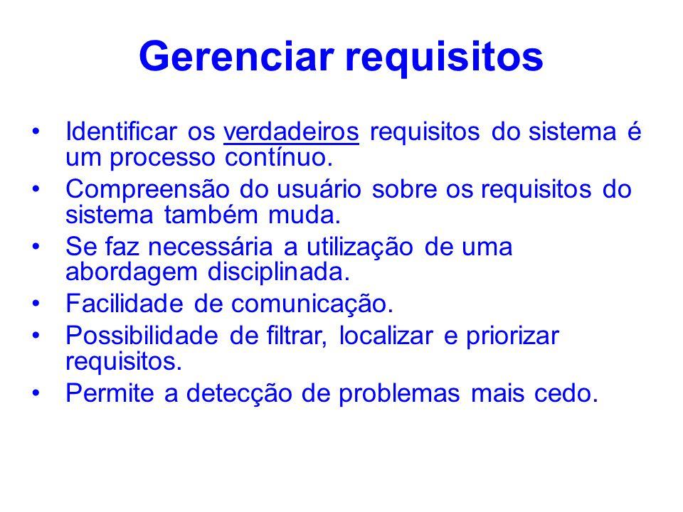 Gerenciar requisitos Identificar os verdadeiros requisitos do sistema é um processo contínuo. Compreensão do usuário sobre os requisitos do sistema ta