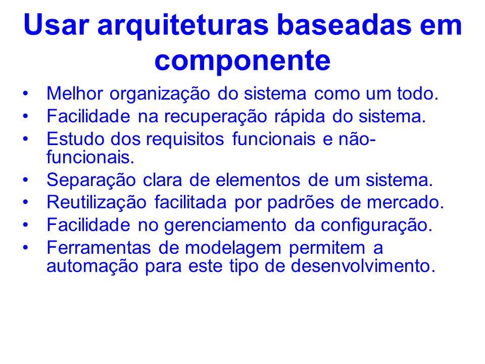 Usar arquiteturas baseadas em componente Melhor organização do sistema como um todo. Facilidade na recuperação rápida do sistema. Estudo dos requisito