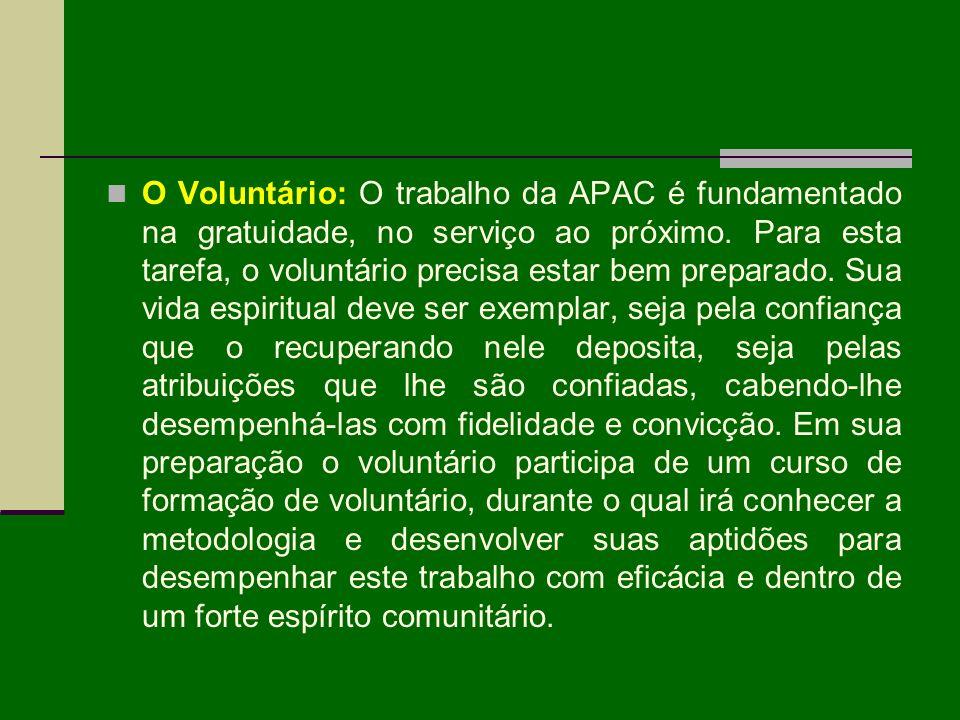 O Voluntário: O trabalho da APAC é fundamentado na gratuidade, no serviço ao próximo. Para esta tarefa, o voluntário precisa estar bem preparado. Sua