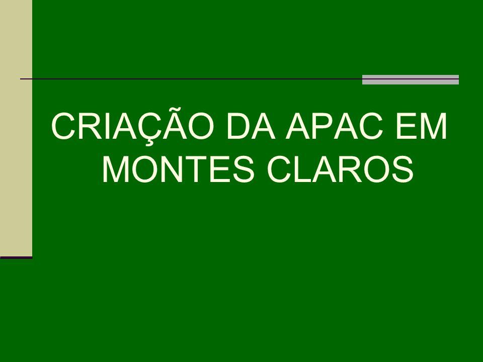 CRIAÇÃO DA APAC EM MONTES CLAROS