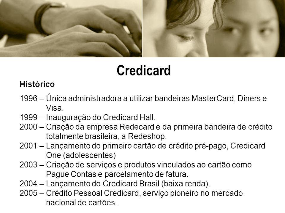 Histórico 1996 – Única administradora a utilizar bandeiras MasterCard, Diners e Visa. 1999 – Inauguração do Credicard Hall. 2000 – Criação da empresa