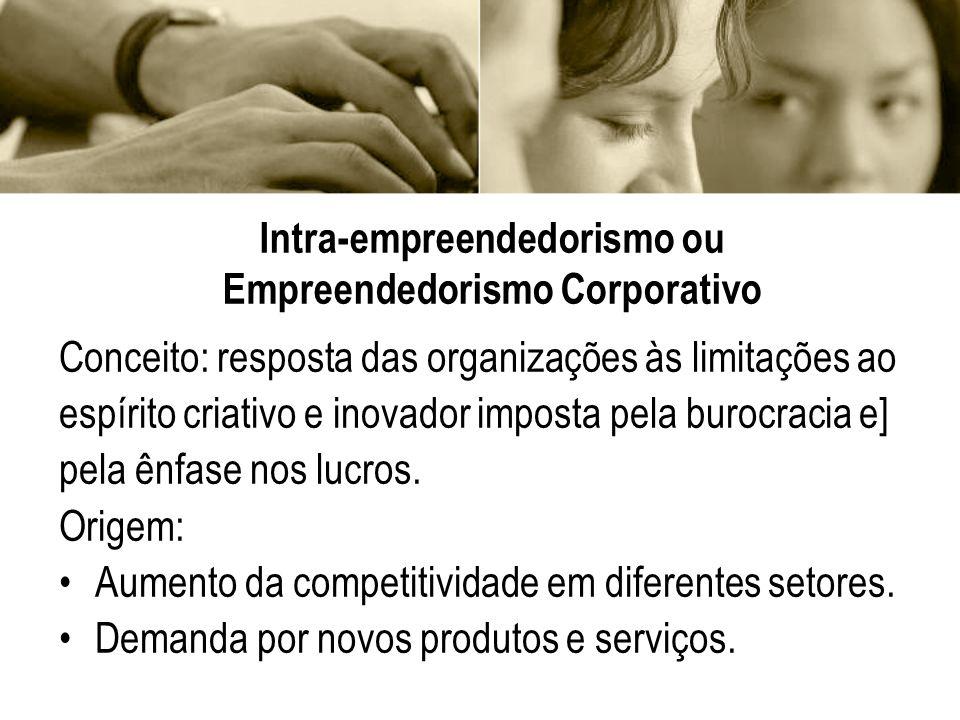 Intra-empreendedorismo ou Empreendedorismo Corporativo Conceito: resposta das organizações às limitações ao espírito criativo e inovador imposta pela