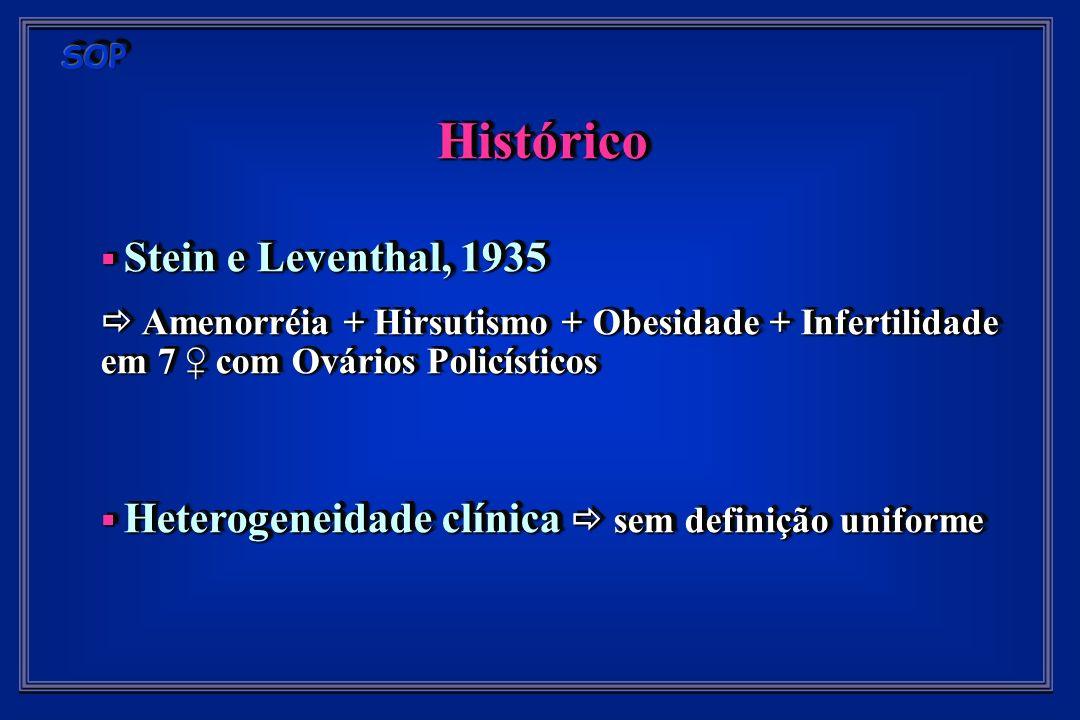 Histórico Stein e Leventhal, 1935 Stein e Leventhal, 1935 Amenorréia + Hirsutismo + Obesidade + Infertilidade em 7 com Ovários Policísticos Amenorréia + Hirsutismo + Obesidade + Infertilidade em 7 com Ovários Policísticos Heterogeneidade clínica sem definição uniforme Heterogeneidade clínica sem definição uniformeHistórico Stein e Leventhal, 1935 Stein e Leventhal, 1935 Amenorréia + Hirsutismo + Obesidade + Infertilidade em 7 com Ovários Policísticos Amenorréia + Hirsutismo + Obesidade + Infertilidade em 7 com Ovários Policísticos Heterogeneidade clínica sem definição uniforme Heterogeneidade clínica sem definição uniforme
