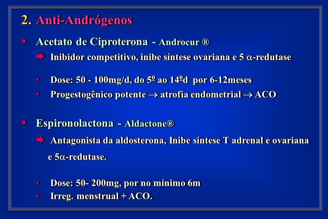 2. Anti-Andrógenos Acetato de Ciproterona - Androcur ® Acetato de Ciproterona - Androcur ® Inibidor competitivo, inibe síntese ovariana e 5 -redutase