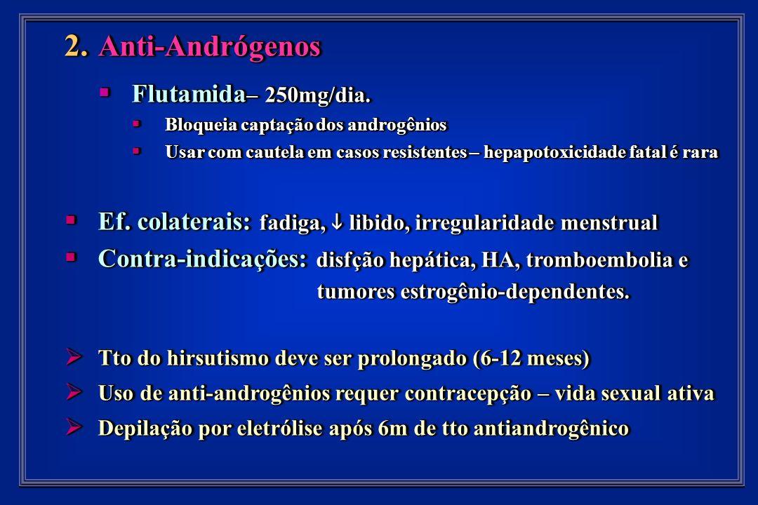 2. Anti-Andrógenos Flutamida – 250mg/dia. Flutamida – 250mg/dia.