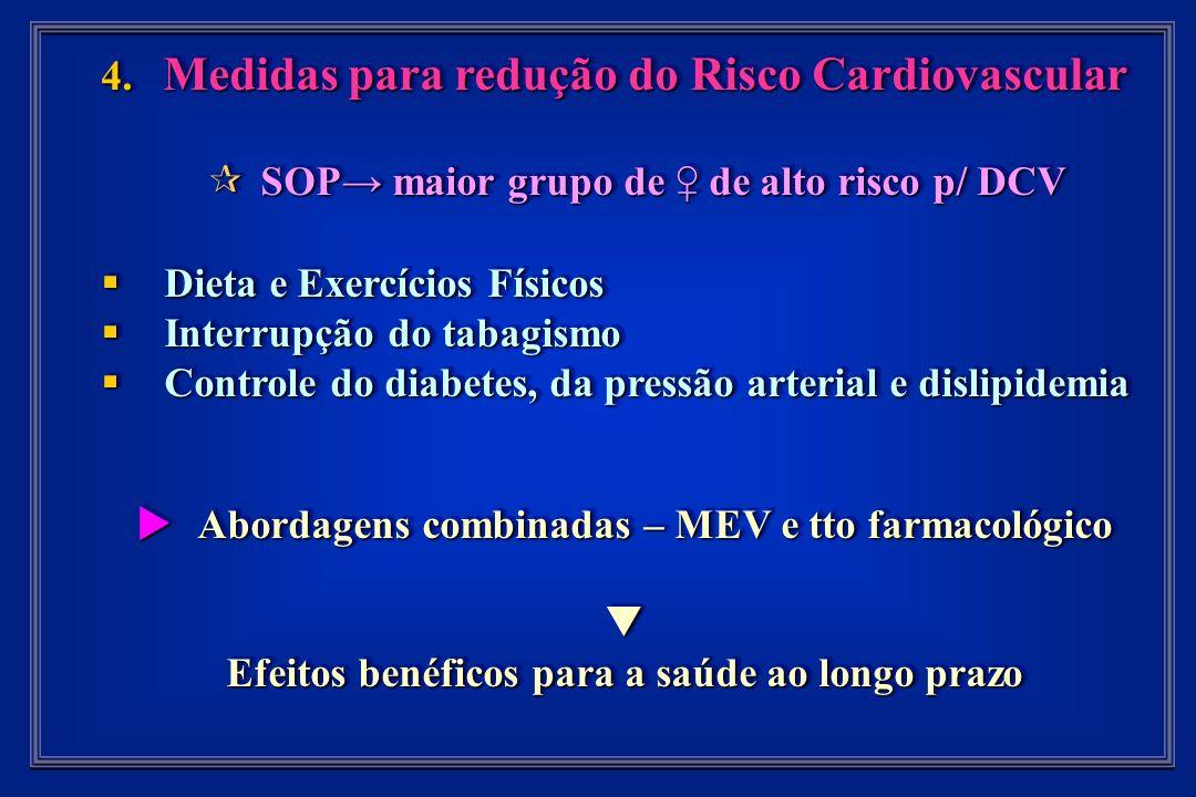 4. Medidas para redução do Risco Cardiovascular SOP maior grupo de de alto risco p/ DCV SOP maior grupo de de alto risco p/ DCV Dieta e Exercícios Fís