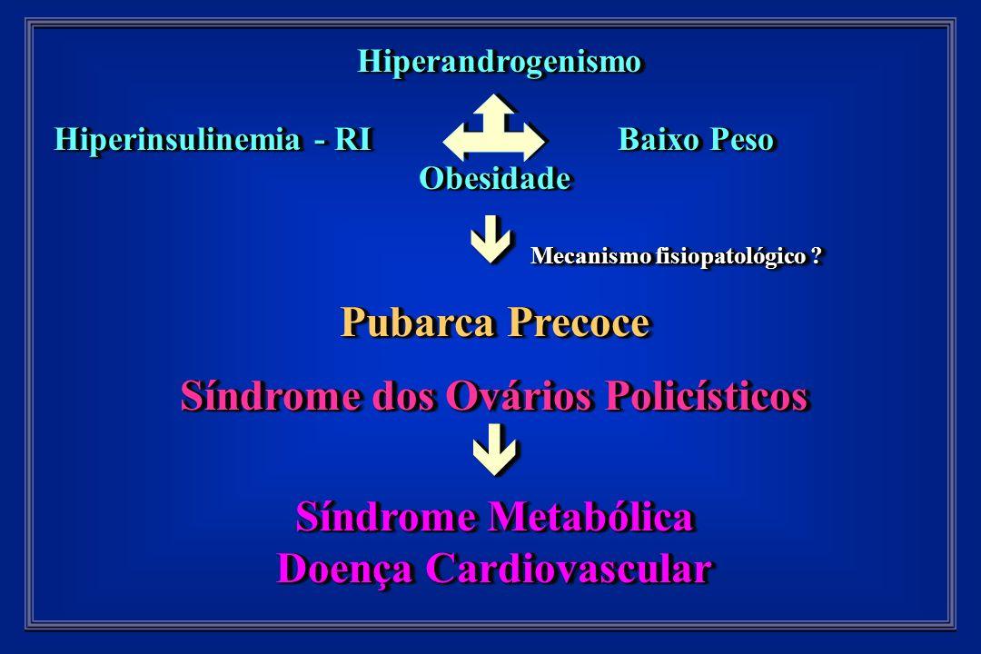 Hiperandrogenismo Hiperandrogenismo Hiperinsulinemia - RI Baixo Peso Hiperinsulinemia - RI Baixo PesoObesidade Mecanismo fisiopatológico .