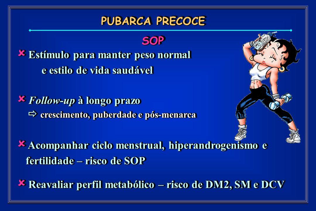 PUBARCA PRECOCE SOP Estímulo para manter peso normal Estímulo para manter peso normal e estilo de vida saudável e estilo de vida saudável Follow-up à longo prazo Follow-up à longo prazo crescimento, puberdade e pós-menarca crescimento, puberdade e pós-menarca Acompanhar ciclo menstrual, hiperandrogenismo e fertilidade – risco de SOP Acompanhar ciclo menstrual, hiperandrogenismo e fertilidade – risco de SOP Reavaliar perfil metabólico – risco de DM2, SM e DCV Reavaliar perfil metabólico – risco de DM2, SM e DCV Estímulo para manter peso normal Estímulo para manter peso normal e estilo de vida saudável e estilo de vida saudável Follow-up à longo prazo Follow-up à longo prazo crescimento, puberdade e pós-menarca crescimento, puberdade e pós-menarca Acompanhar ciclo menstrual, hiperandrogenismo e fertilidade – risco de SOP Acompanhar ciclo menstrual, hiperandrogenismo e fertilidade – risco de SOP Reavaliar perfil metabólico – risco de DM2, SM e DCV Reavaliar perfil metabólico – risco de DM2, SM e DCV