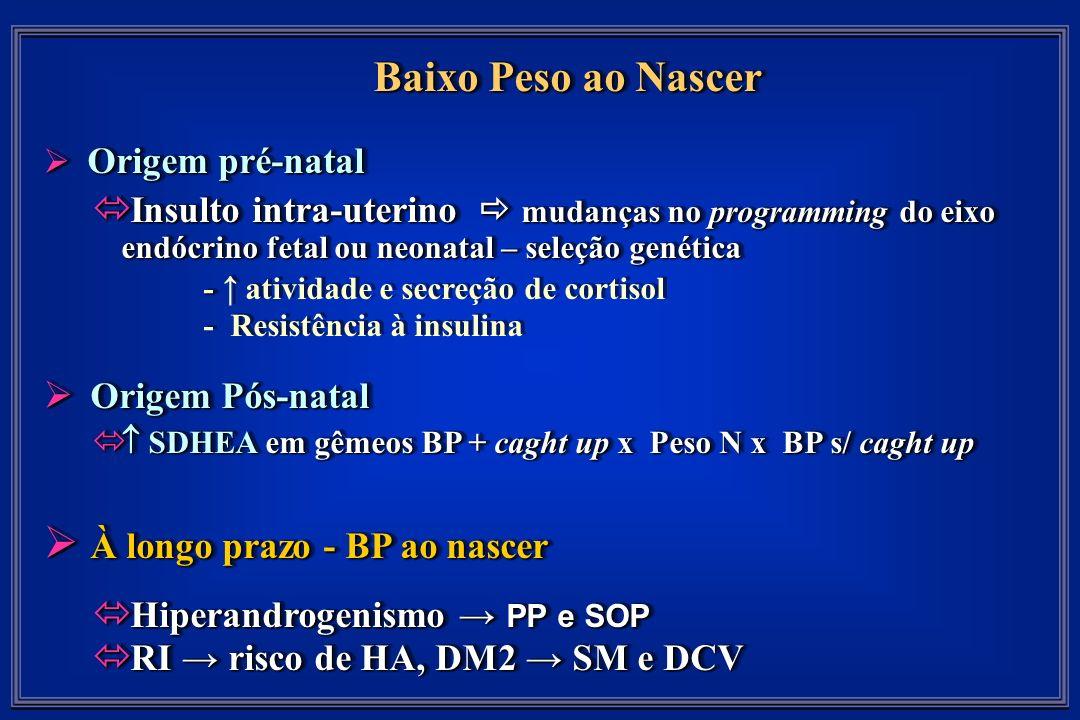 Baixo Peso ao Nascer Origem pré-natal Origem pré-natal Insulto intra-uterino mudanças no programming do eixo endócrino fetal ou neonatal – seleção genética Insulto intra-uterino mudanças no programming do eixo endócrino fetal ou neonatal – seleção genética - - atividade e secreção de cortisol - Resistência à insulina Origem Pós-natal Origem Pós-natal SDHEA em gêmeos BP + caght up x Peso N x BP s/ caght up SDHEA em gêmeos BP + caght up x Peso N x BP s/ caght up À longo prazo - BP ao nascer À longo prazo - BP ao nascer Hiperandrogenismo PP e SOP Hiperandrogenismo PP e SOP RI risco de HA, DM2 SM e DCV RI risco de HA, DM2 SM e DCV Baixo Peso ao Nascer Origem pré-natal Origem pré-natal Insulto intra-uterino mudanças no programming do eixo endócrino fetal ou neonatal – seleção genética Insulto intra-uterino mudanças no programming do eixo endócrino fetal ou neonatal – seleção genética - - atividade e secreção de cortisol - Resistência à insulina Origem Pós-natal Origem Pós-natal SDHEA em gêmeos BP + caght up x Peso N x BP s/ caght up SDHEA em gêmeos BP + caght up x Peso N x BP s/ caght up À longo prazo - BP ao nascer À longo prazo - BP ao nascer Hiperandrogenismo PP e SOP Hiperandrogenismo PP e SOP RI risco de HA, DM2 SM e DCV RI risco de HA, DM2 SM e DCV