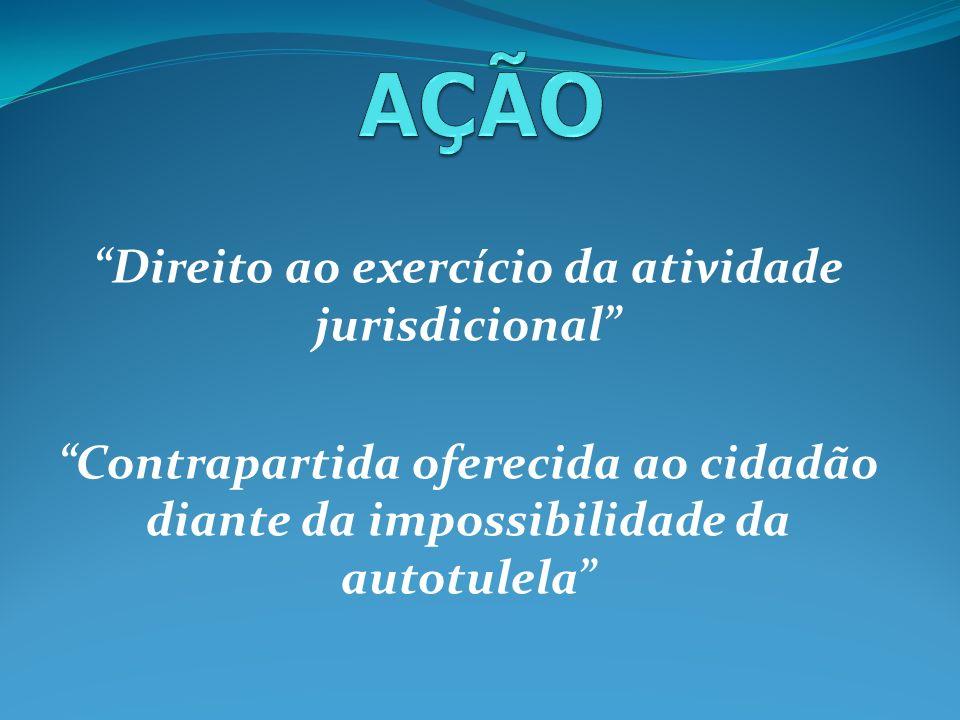 Direito ao exercício da atividade jurisdicional Contrapartida oferecida ao cidadão diante da impossibilidade da autotulela